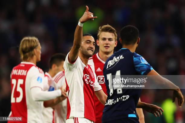 Hakim Ziyech of Ajax celebrates scoring a goal which was then disallowed by VAR or the Video Assistant Referee during the Eredivisie match between...