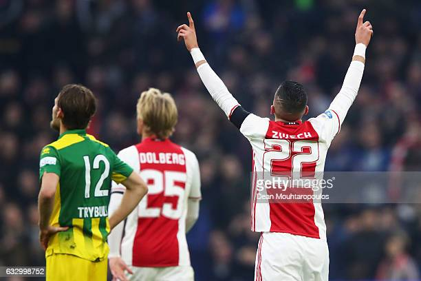 Hakim Ziyech of Ajax celebrates scoring his teams first goal of the game during the Eredivisie match between Ajax Amsterdam and ADO Den Haag held at...