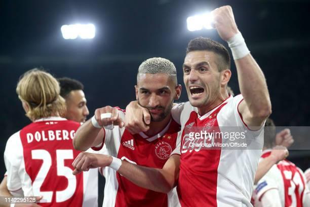 Hakim Ziyech of Ajax celebrates scoring their second goal with Dusan Tadic during the UEFA Champions League Semi Final second leg match between Ajax...