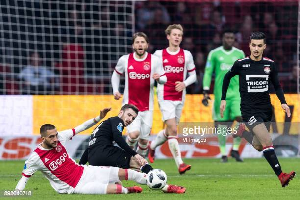 Hakim Ziyech of Ajax Daniel Crowley of Willem II during the Dutch Eredivisie match between Ajax Amsterdam and Willem II Tilburg at the Amsterdam...