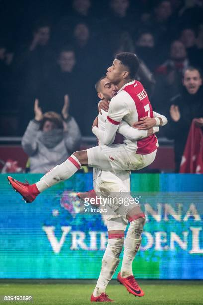Hakim Ziyech of Ajax David Neres of Ajax 10 during the Dutch Eredivisie match between Ajax Amsterdam and PSV Eindhoven at the Amsterdam Arena on...