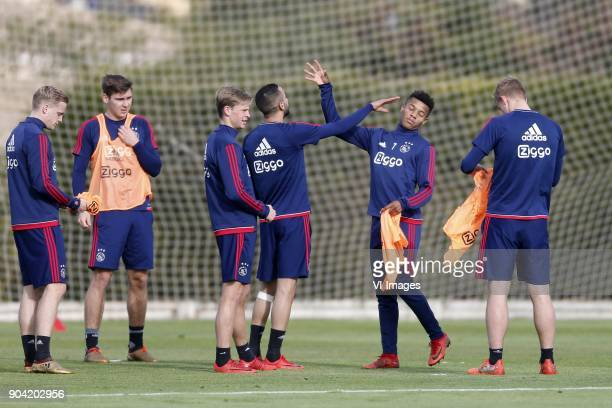 Hakim Ziyech of Ajax David Neres of Ajax during a training session of Ajax Amsterdam at the Cascada Resort on January 12 2018 in Lagos Portugal