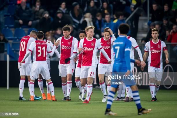 Hakim Ziyech of Ajax David Neres of Ajax Nicolas Tagliafico of Ajax Klaas Jan Huntelaar of Ajax Justin Kluivert of Ajax Frenkie de Jong of Ajax...