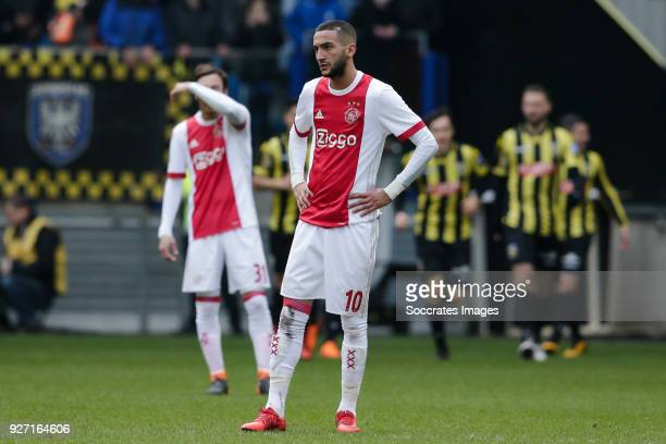 Hakim Ziyech of Ajax disappointed during the Dutch Eredivisie match between Vitesse v Ajax at the GelreDome on March 4 2018 in Arnhem Netherlands