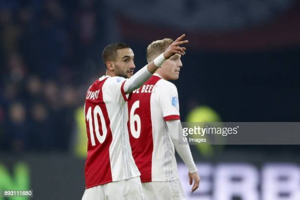 Hakim Ziyech of Ajax Donny van de Beek of Ajax during the Dutch Eredivisie match between Ajax Amsterdam and sbv Excelsior at the Amsterdam Arena on...