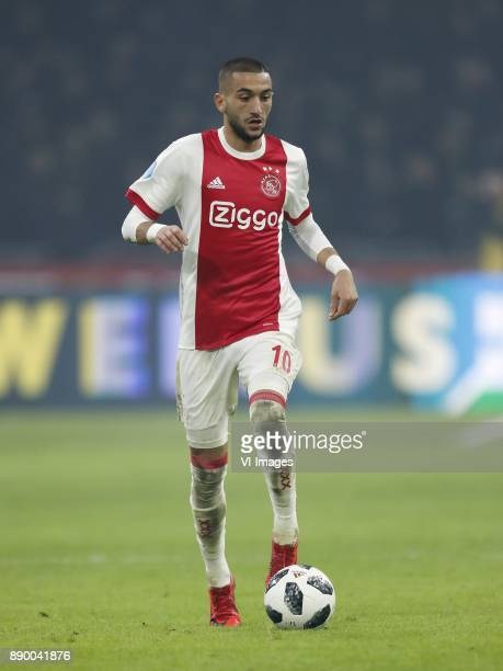 Hakim Ziyech of Ajax during the Dutch Eredivisie match between Ajax Amsterdam and PSV Eindhoven at the Amsterdam Arena on December 10 2017 in...