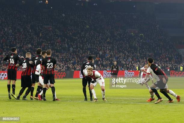 Hakim Ziyech of Ajax during the Dutch Eredivisie match between Ajax Amsterdam and sbv Excelsior at the Amsterdam Arena on December 14 2017 in...