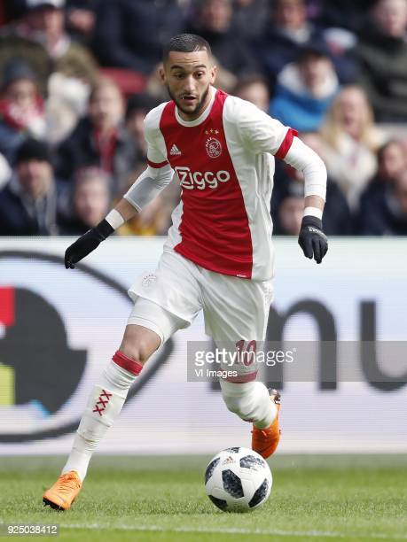 Hakim Ziyech of Ajax during the Dutch Eredivisie match between Ajax Amsterdam and ADO Den Haag at the Amsterdam Arena on February 25 2018 in...