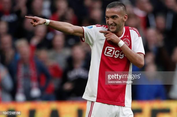 Hakim Ziyech of Ajax during the Dutch Eredivisie match between Ajax v AZ Alkmaar at the Johan Cruijff Arena on October 7 2018 in Amsterdam Netherlands