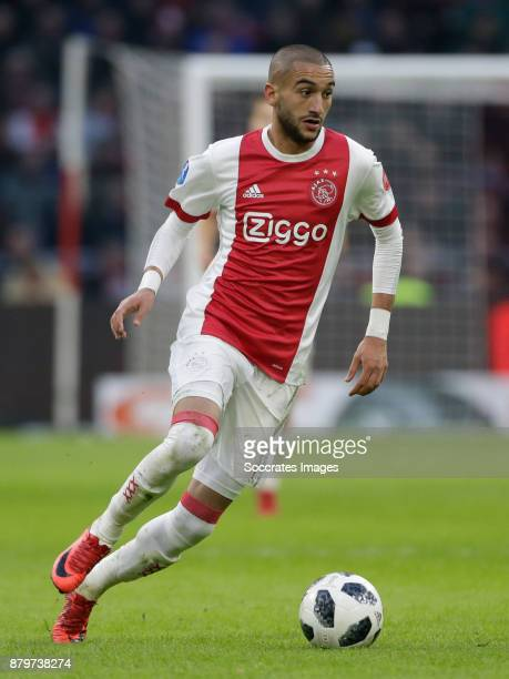 Hakim Ziyech of Ajax during the Dutch Eredivisie match between Ajax v Roda JC at the Johan Cruijff Arena on November 26 2017 in Amsterdam Netherlands