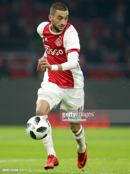 Hakim Ziyech of Ajax during the Dutch Eredivisie match between Ajax v Excelsior at the Johan Cruijff Arena on December 14 2017 in Amsterdam...