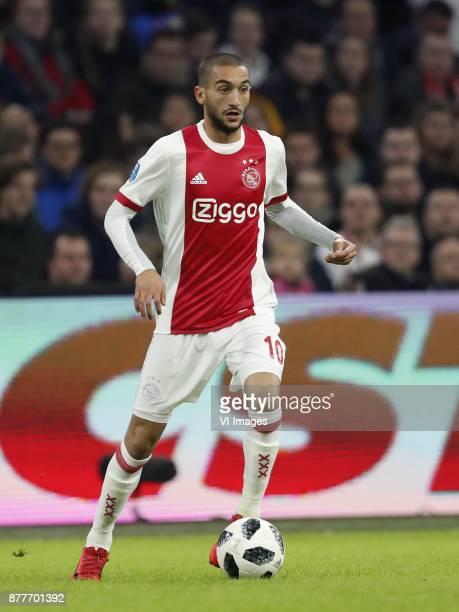 Hakim Ziyech of Ajax during the international friendly match between Ajax Amsterdam and Borussia Mönchengladbach at the Amsterdam Arena on November...