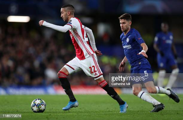 Hakim Ziyech of Ajax during the UEFA Champions League group H match between Chelsea FC and AFC Ajax at Stamford Bridge on November 05, 2019 in...