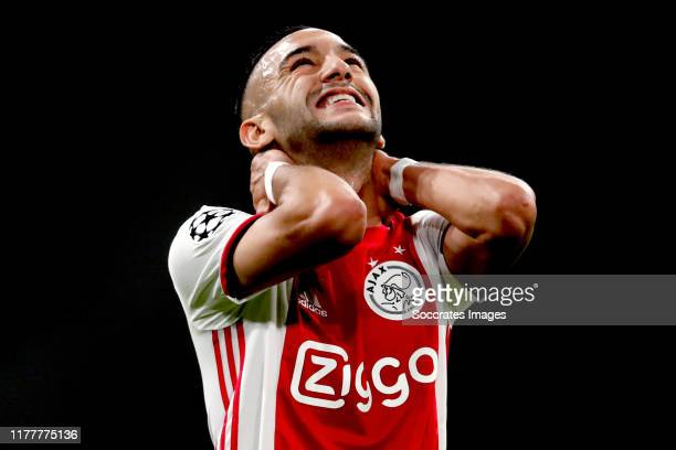 Hakim Ziyech of Ajax during the UEFA Champions League match between Ajax v Chelsea at the Johan Cruijff Arena on October 23 2019 in Amsterdam...