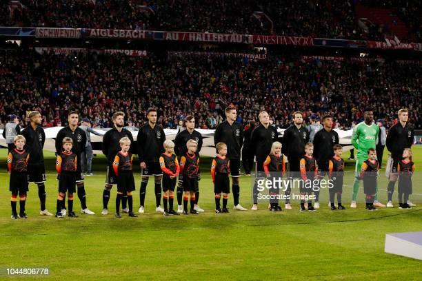 Hakim Ziyech of Ajax Dusan Tadic of Ajax Lasse Schone of Ajax Noussair Mazraoui of Ajax Nicolas Tagliafico of Ajax Maximilian Wober of Ajax Donny van...