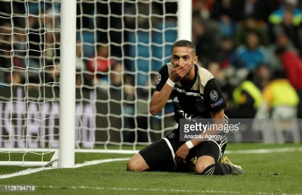 Hakim Ziyech of Ajax gestures during UEFA Champions League Round of 16 second leg match between Real Madrid and Ajax at Santiago Bernabeu Stadium in...