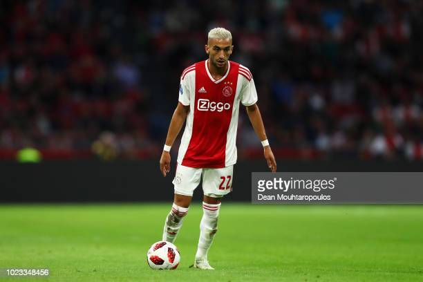 Hakim Ziyech of Ajax in action during the Eredivisie match between Ajax and Emmen at Johan Cruyff Arena on August 25 2018 in Amsterdam Netherlands