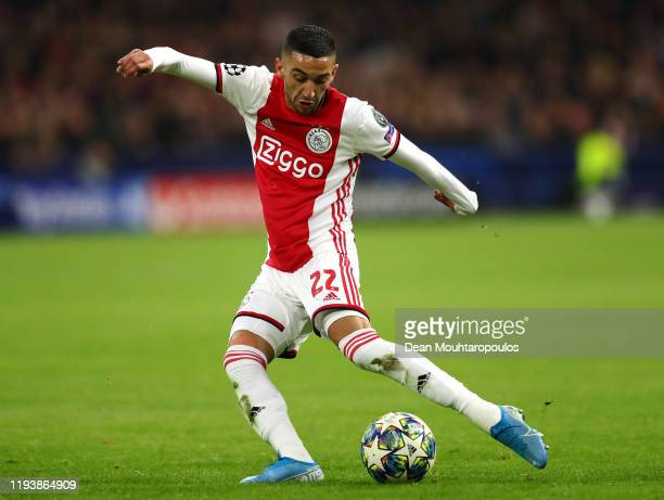 Hakim Ziyech of Ajax in action during the UEFA Champions League group H match between AFC Ajax and Valencia CF at Amsterdam Arena on December 10 2019...