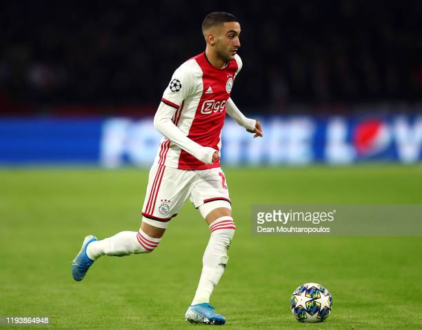 Hakim Ziyech of Ajax in action during the UEFA Champions League group H match between AFC Ajax and Valencia CF at Amsterdam Arena on December 10,...