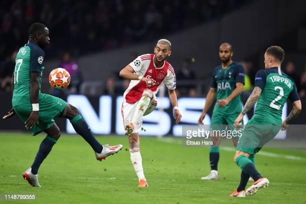 Hakim Ziyech of Ajax in action during the UEFA Champions League Semi Final second leg match between Ajax and Tottenham Hotspur at the Johan Cruyff...