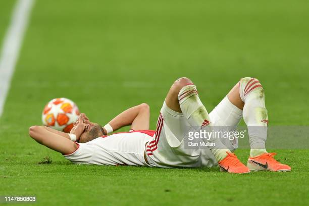 Hakim Ziyech of Ajax is dejected after losing the UEFA Champions League Semi Final second leg match between Ajax and Tottenham Hotspur at the Johan...