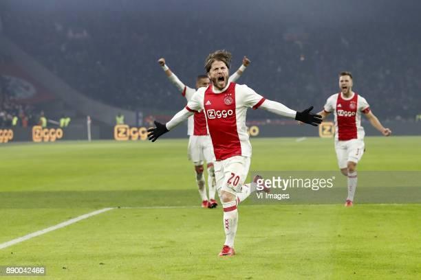 Hakim Ziyech of Ajax Lasse Schone of Ajax Joel Veltman of Ajax during the Dutch Eredivisie match between Ajax Amsterdam and PSV Eindhoven at the...