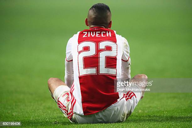 Hakim Ziyech of Ajax looks on during the Eredivisie match between Ajax Amsterdam and PSV Eindhoven held at Amsterdam Arena on December 18 2016 in...
