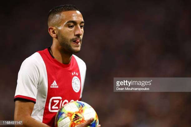 Hakim Ziyech of Ajax looks on during the UEFA Champions League 3rd Qualifying match between Ajax and PAOK Thessaloniki at Johan Cruyff Arena on...