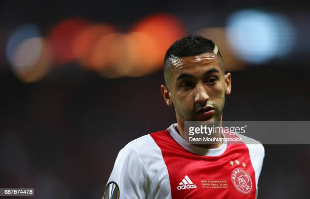 Hakim Ziyech of Ajax looks on during the UEFA Europa League Final between Ajax and Manchester United at Friends Arena on May 24 2017 in Stockholm...