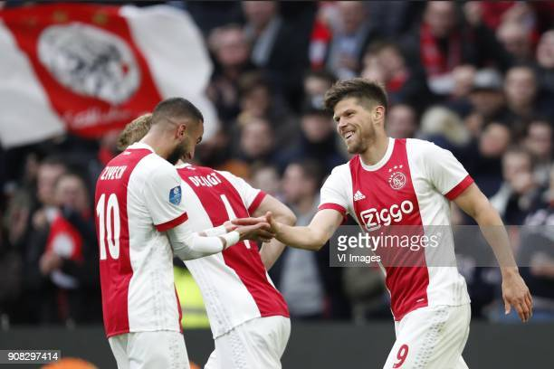Hakim Ziyech of Ajax Matthijs de Ligt of Ajax Klaas Jan Huntelaar of Ajax during the Dutch Eredivisie match between Ajax Amsterdam and Feyenoord...