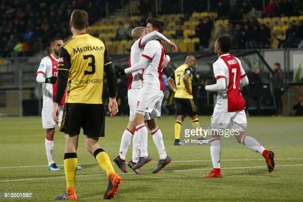 Hakim Ziyech of Ajax Patrick Banggaard of Roda JC Joel Veltman of Ajax Klaas Jan Huntelaar of Ajax David Neres of Ajax during the Dutch Eredivisie...