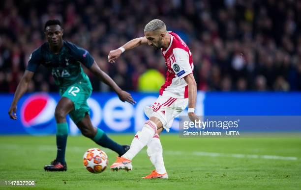 Hakim Ziyech of Ajax scores his team's second goal during the UEFA Champions League Semi Final second leg match between Ajax and Tottenham Hotspur at...