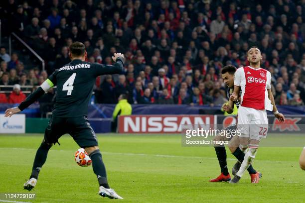 Hakim Ziyech of Ajax scores the second goal to make it 11 during the UEFA Champions League match between Ajax v Real Madrid at the Johan Cruijff...