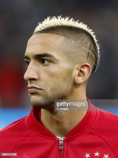 Hakim Ziyech of Ajaxduring the UEFA Europa League quarter final match between Ajax Amsterdam and FC Schalke 04 at the Amsterdam Arena on April 13...