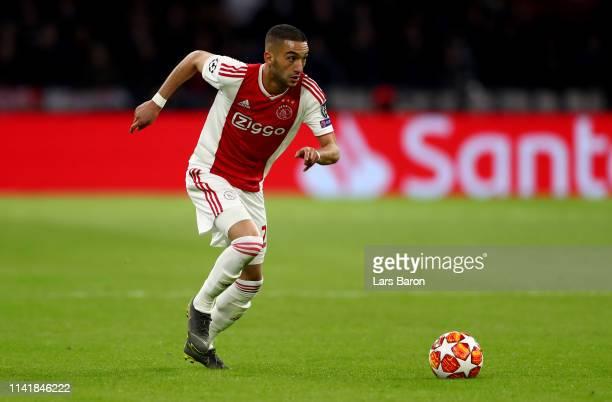 Hakim Ziyech of Amsterdam runs with the ball during the UEFA Champions League Quarter Final first leg match between Ajax and Juventus at Johan Cruyff...