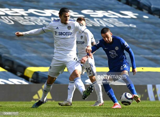 Hakim Ziyech of Chelsea battles for possession with Pascal Struijk of Leeds United during the Premier League match between Leeds United and Chelsea...
