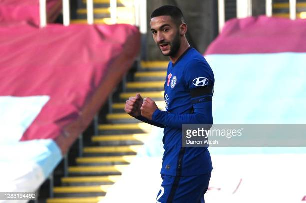 Hakim Ziyech of Chelsea celebrates after he scores his sides first goal during the Premier League match between Burnley and Chelsea at Turf Moor on...