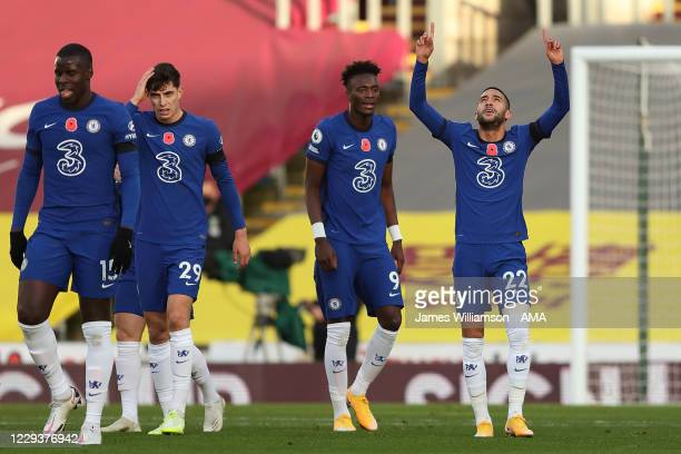 Hakim Ziyech of Chelsea celebrates after scoring a goal to make it 0-1 during the Premier League match between Burnley and Chelsea at Turf Moor on...