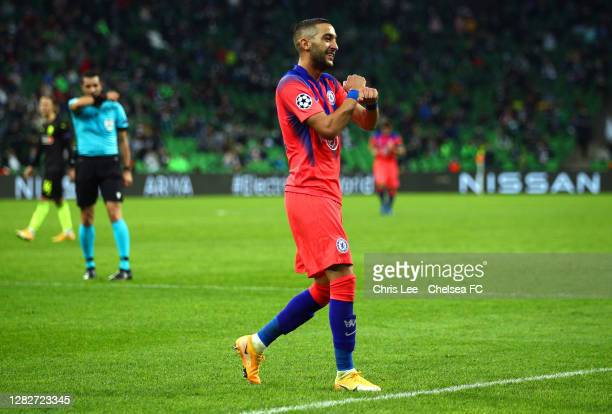 Hakim Ziyech of Chelsea celebrates after scoring his sides third goal during the UEFA Champions League Group E stage match between FC Krasnodar and...