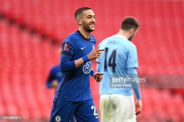 Hakim Ziyech of Chelsea celebrates after scoring his team's first goal during the Semi Final of the Emirates FA Cup match between Manchester City and...