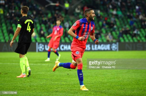 Hakim Ziyech of Chelsea celebrates after scoring his team's third goal during the UEFA Champions League Group E stage match between FC Krasnodar and...