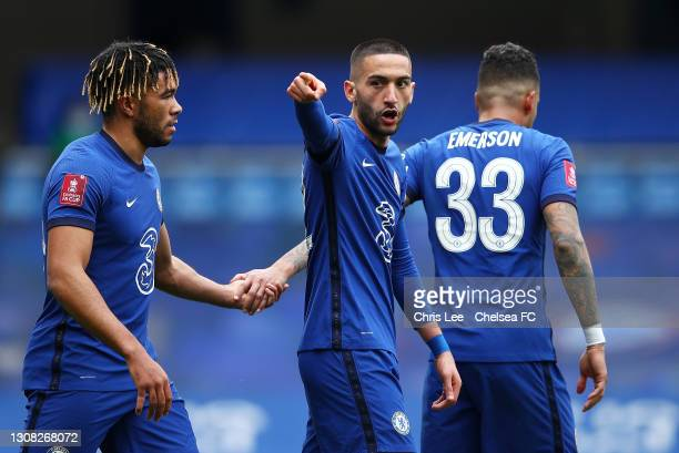 Hakim Ziyech of Chelsea celebrates with Reece James after scoring their side's second goal during the Emirates FA Cup Quarter Final match between...