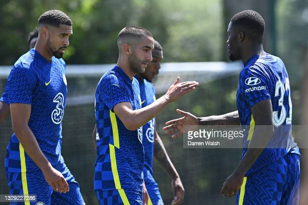 Hakim Ziyech of Chelsea celebrates with teammates after scoring a hat-trick for Chelsea during a Pre-Season Friendly between Chelsea and Peterborough...