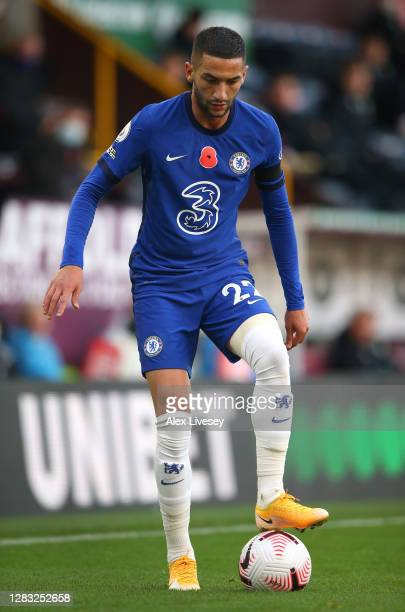 Hakim Ziyech of Chelsea controls the ball during the Premier League match between Burnley and Chelsea at Turf Moor on October 31 2020 in Burnley...