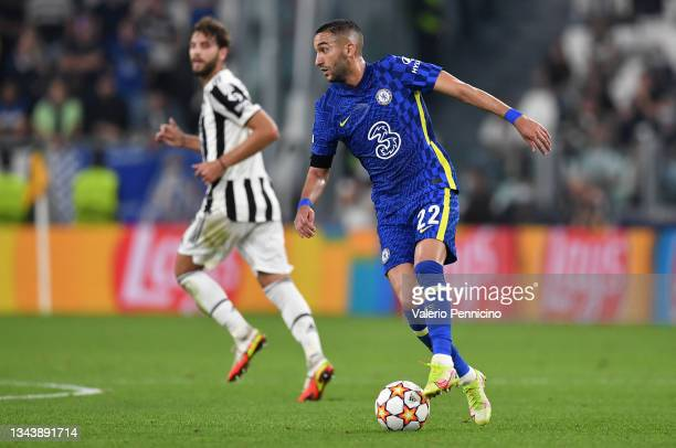 Hakim Ziyech of Chelsea controls the ball during the UEFA Champions League group H match between Juventus and Chelsea FC at the Juventus Stadium on...