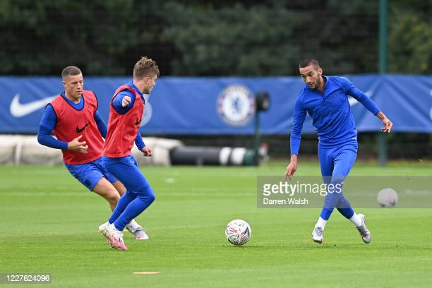 Hakim Ziyech of Chelsea during a training session at Chelsea Training Ground on July 16 2020 in Cobham England