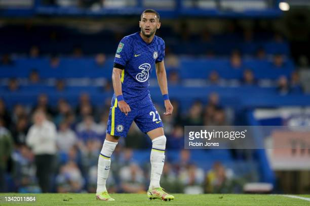 Hakim Ziyech of Chelsea during the Carabao Cup Third Round match between Chelsea and Aston Villa at Stamford Bridge on September 22, 2021 in London,...