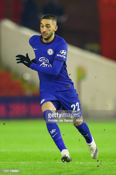 Hakim Ziyech of Chelsea during The Emirates FA Cup Fifth Round match between Barnsley and Chelsea at Oakwell Stadium on February 11, 2021 in...
