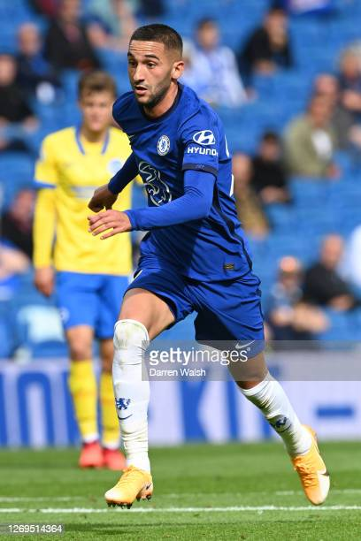 Hakim Ziyech of Chelsea during the preseason friendly between Brighton Hove Albion and Chelsea at Amex Stadium on August 29 2020 in Brighton England