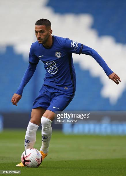 Hakim Ziyech of Chelsea during the preseason friendly match at Amex Stadium on August 29 2020 in Brighton England A limited number of spectators will...
